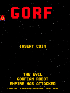 "GORF in attract mode, with the titular ""boss"" hopping onto the screen on the left. (Important note: ""Gorf"" is ""Frog"" spelled backwards.)"
